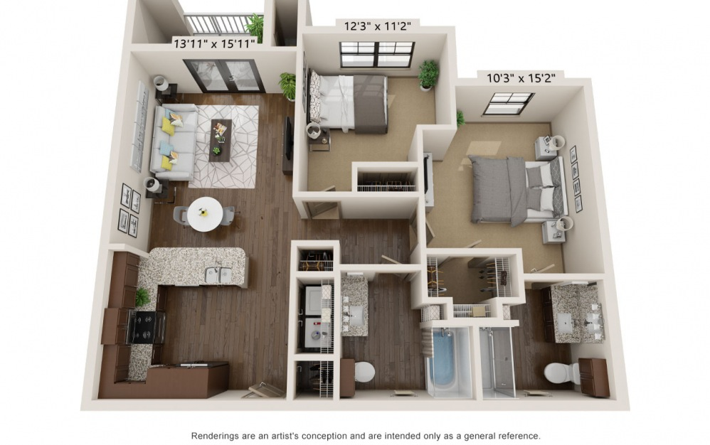 B980 - 2 bedroom floorplan layout with 2 baths and 980 square feet.
