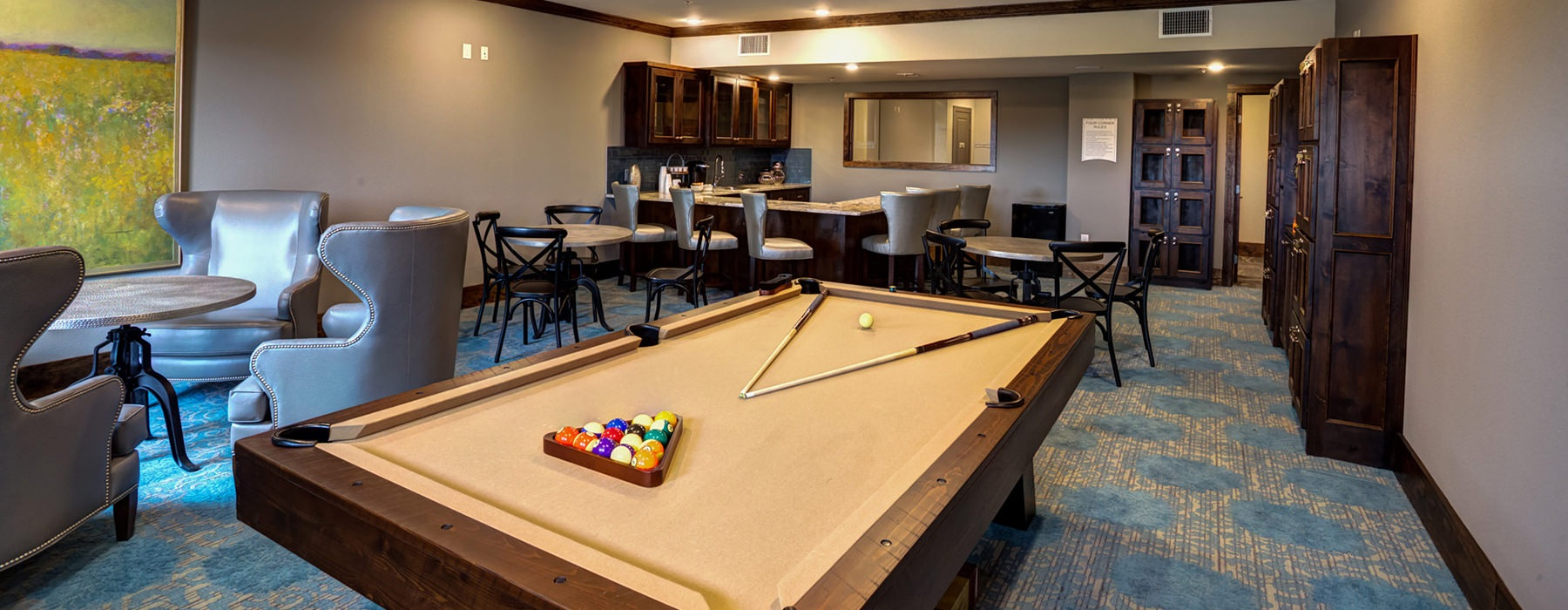 billiards area with pool table, and comfortable seating